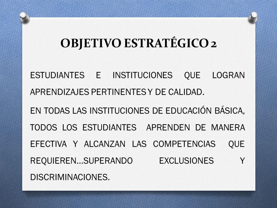 OBJETIVO ESTRATÉGICO 2 ESTUDIANTES E INSTITUCIONES QUE LOGRAN APRENDIZAJES PERTINENTES Y DE CALIDAD. EN TODAS LAS INSTITUCIONES DE EDUCACIÓN BÁSICA, T