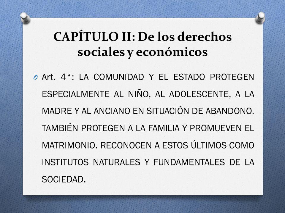 CAPÍTULO II: De los derechos sociales y económicos O Art. 4°: LA COMUNIDAD Y EL ESTADO PROTEGEN ESPECIALMENTE AL NIÑO, AL ADOLESCENTE, A LA MADRE Y AL