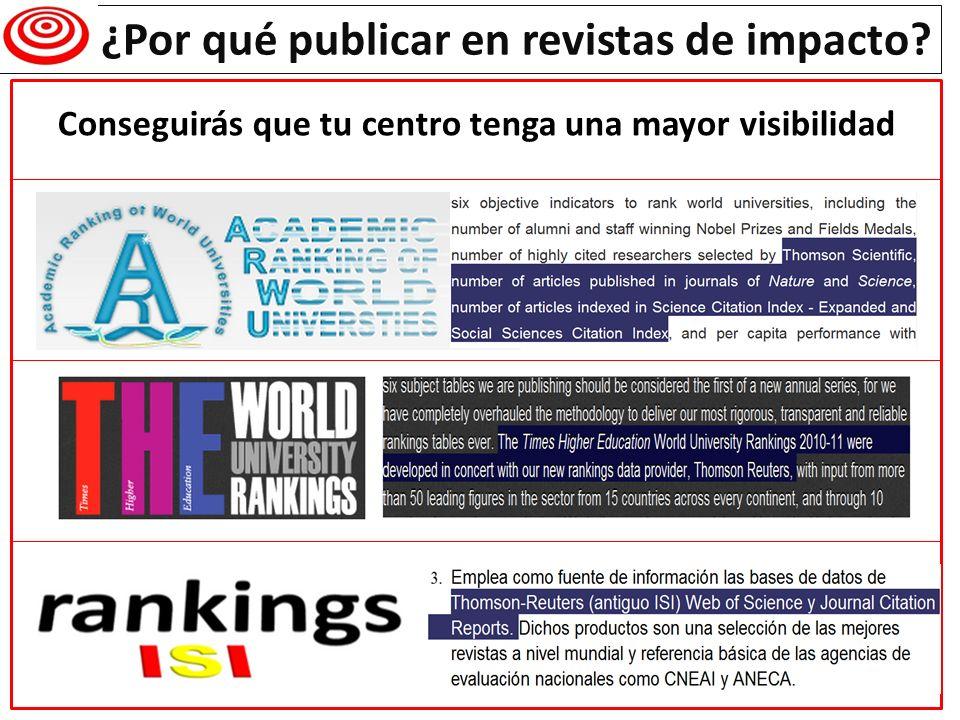 ¿Por qué publicar en revistas de impacto? Conseguirás que tu centro tenga una mayor visibilidad