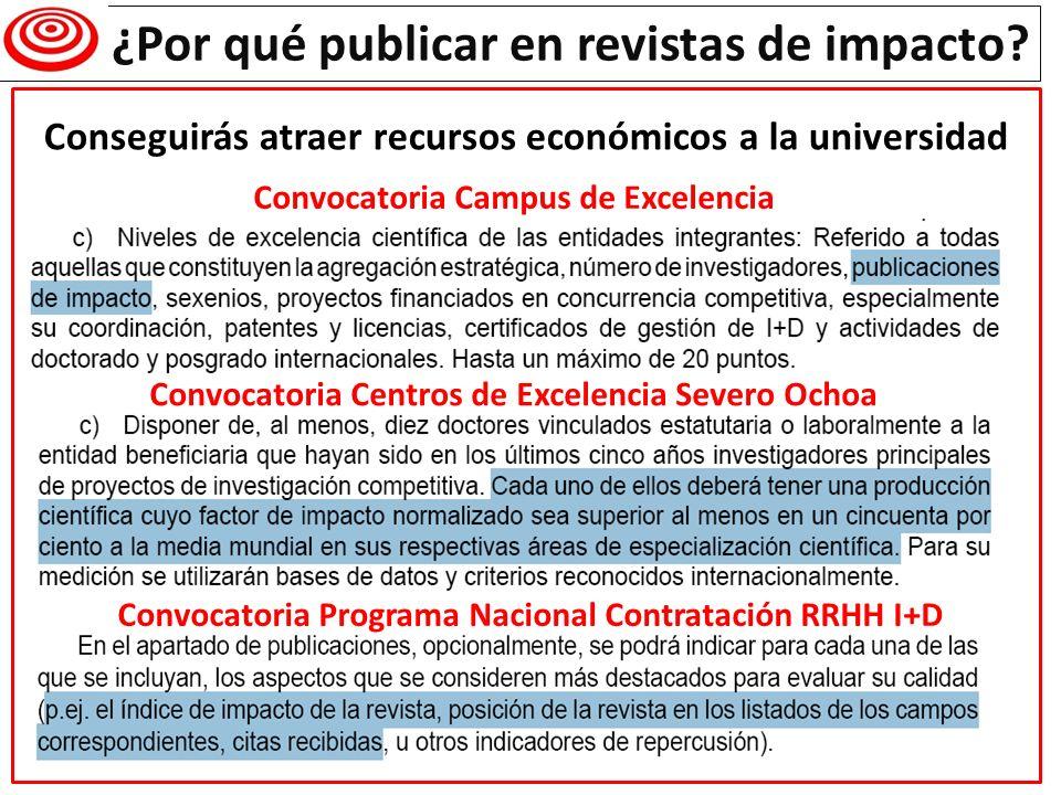 ¿Por qué publicar en revistas de impacto? Convocatoria Campus de Excelencia Convocatoria Centros de Excelencia Severo Ochoa Convocatoria Programa Naci
