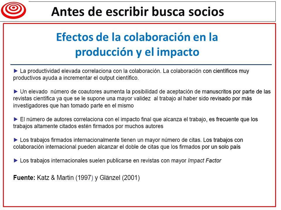 Antes de escribir busca socios Efectos de la colaboración en la producción y el impacto