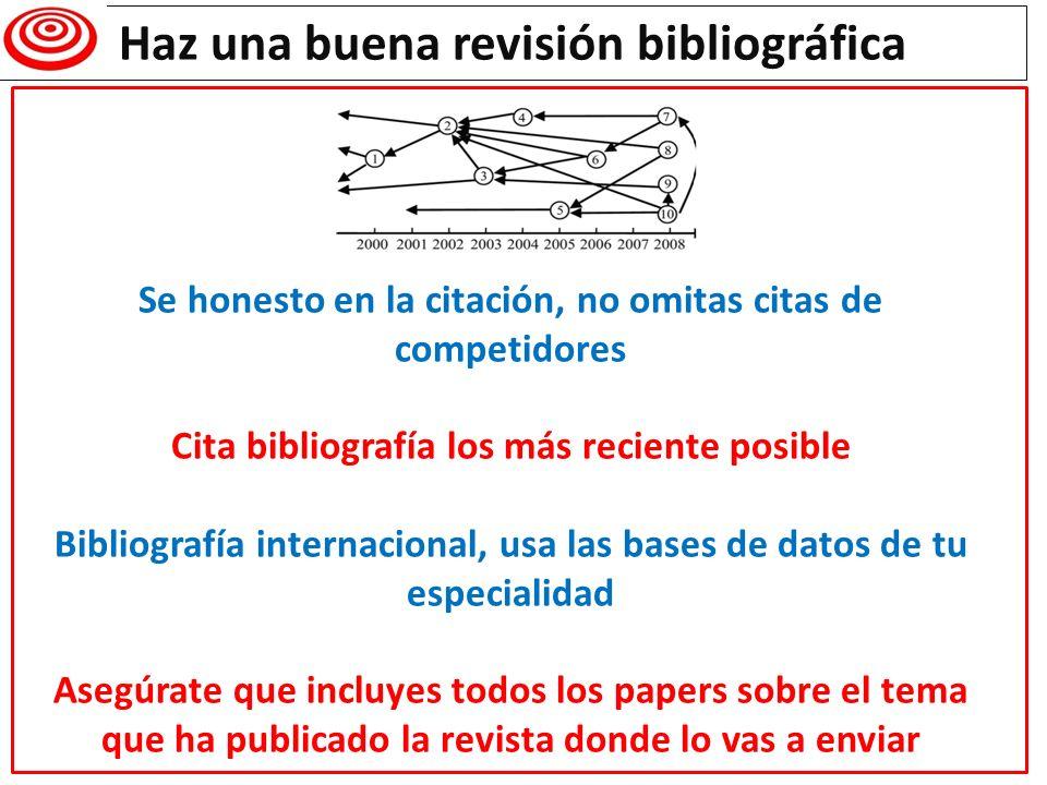 Haz una buena revisión bibliográfica Se honesto en la citación, no omitas citas de competidores Cita bibliografía los más reciente posible Bibliografí