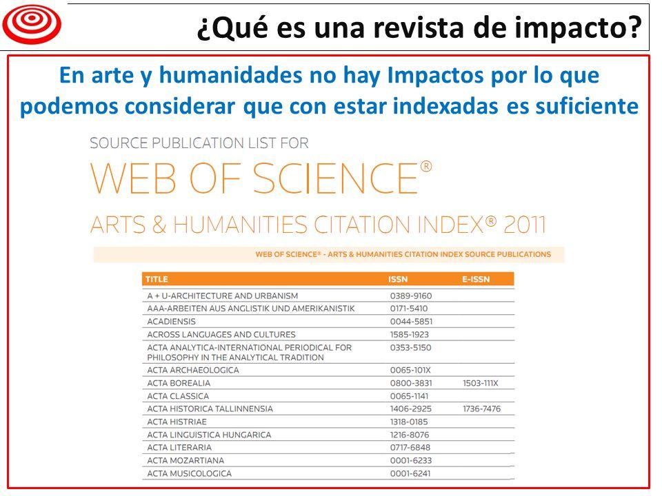 En arte y humanidades no hay Impactos por lo que podemos considerar que con estar indexadas es suficiente
