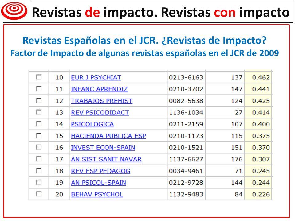 Revistas de impacto. Revistas con impacto Revistas Españolas en el JCR. ¿Revistas de Impacto? Factor de Impacto de algunas revistas españolas en el JC