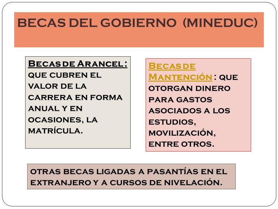Actualmente el Mineduc cuenta con las siguientes Becas de Arancel para la Educación Superior: 1.
