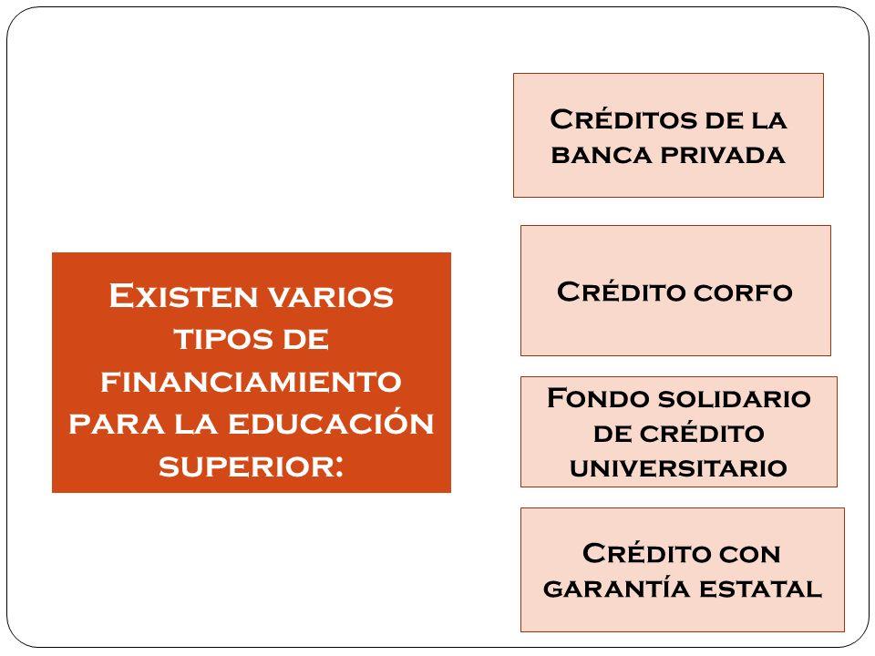 Créditos de la banca privada Son aquellos créditos otorgados por los bancos que buscan financiar uno o todos los años que dure la carrera universitaria de pregrado.