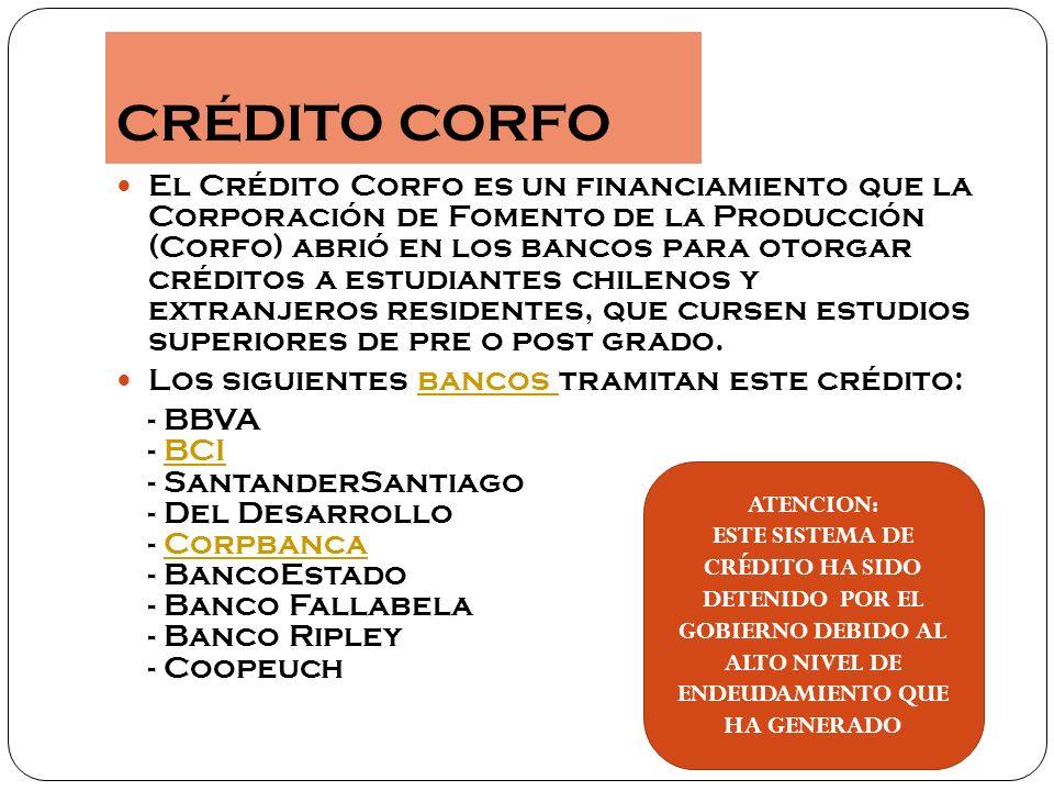 Existen dos tipos de créditos por parte del gobierno Fondo Solidario de Crédito Universitario (FSCU) Crédito con garantía Aval del estado (ley 20.027)