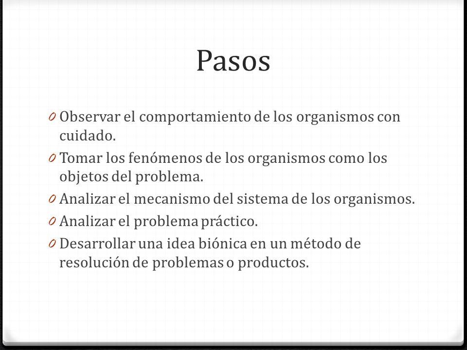 Pasos 0 Observar el comportamiento de los organismos con cuidado. 0 Tomar los fenómenos de los organismos como los objetos del problema. 0 Analizar el