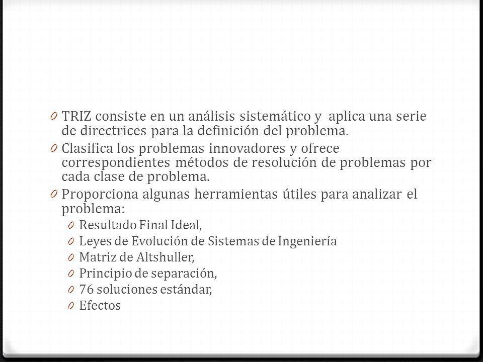 0 TRIZ consiste en un análisis sistemático y aplica una serie de directrices para la definición del problema. 0 Clasifica los problemas innovadores y
