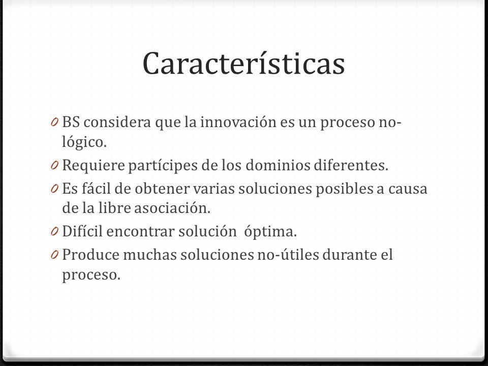 Características 0 BS considera que la innovación es un proceso no- lógico. 0 Requiere partícipes de los dominios diferentes. 0 Es fácil de obtener var