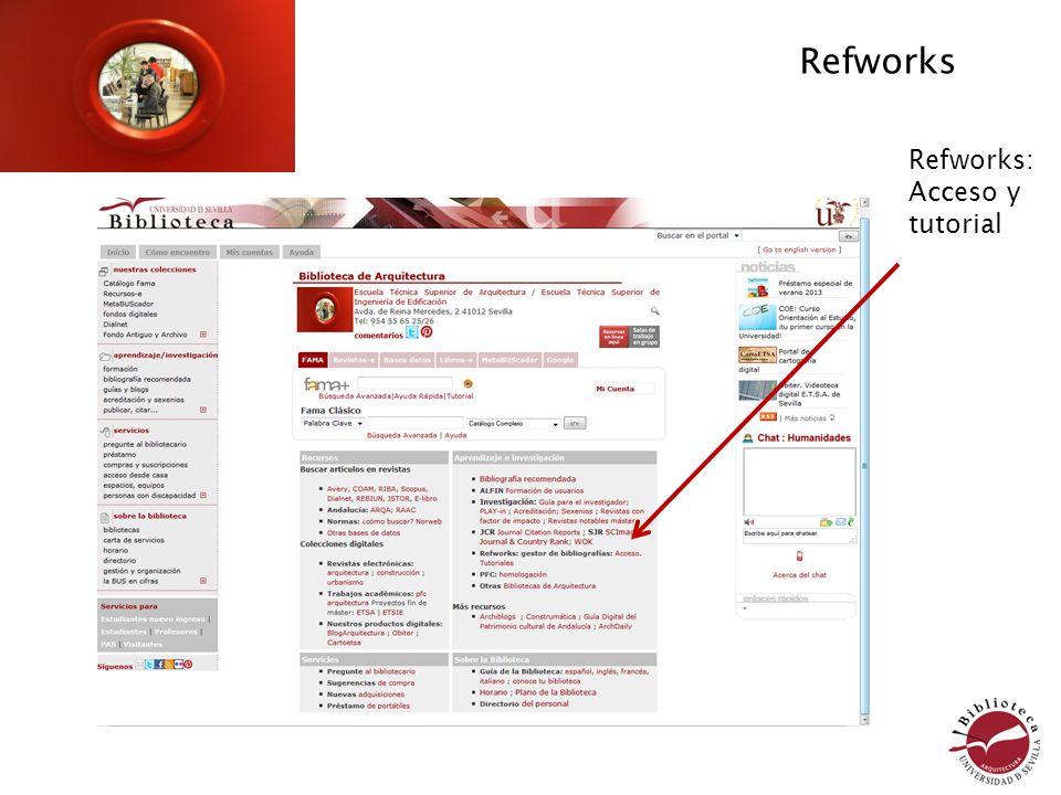 Refworks Refworks: Acceso y tutorial