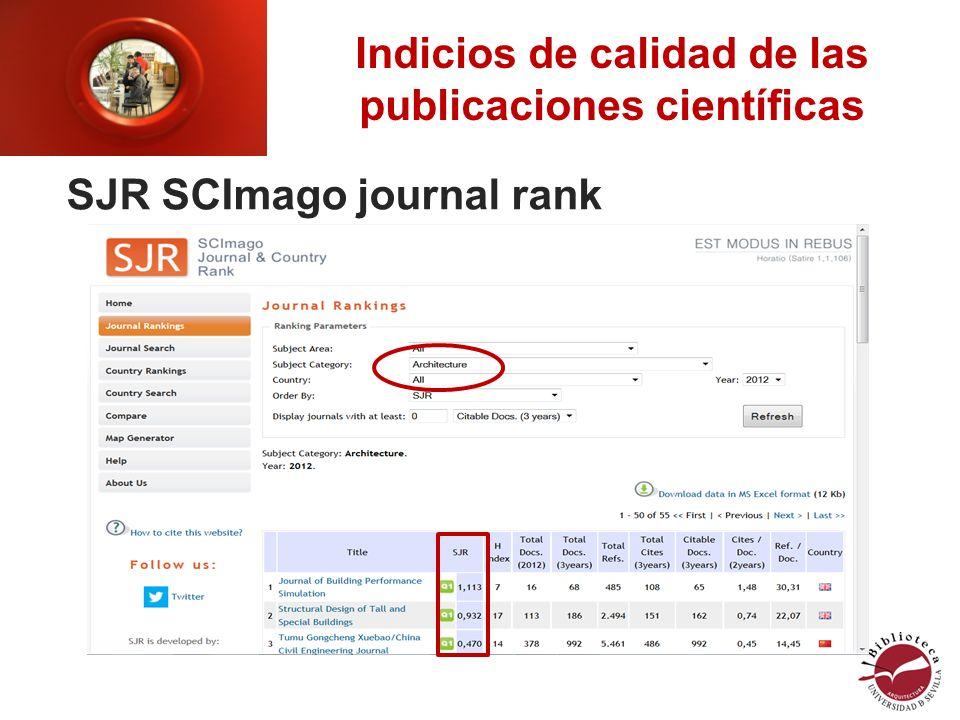 Indicios de calidad de las publicaciones científicas SJR SCImago journal rank