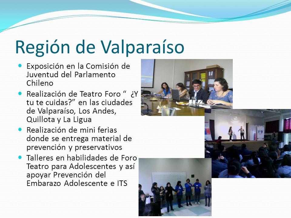 Región de Valparaíso Exposición en la Comisión de Juventud del Parlamento Chileno Realización de Teatro Foro ¿Y tu te cuidas.