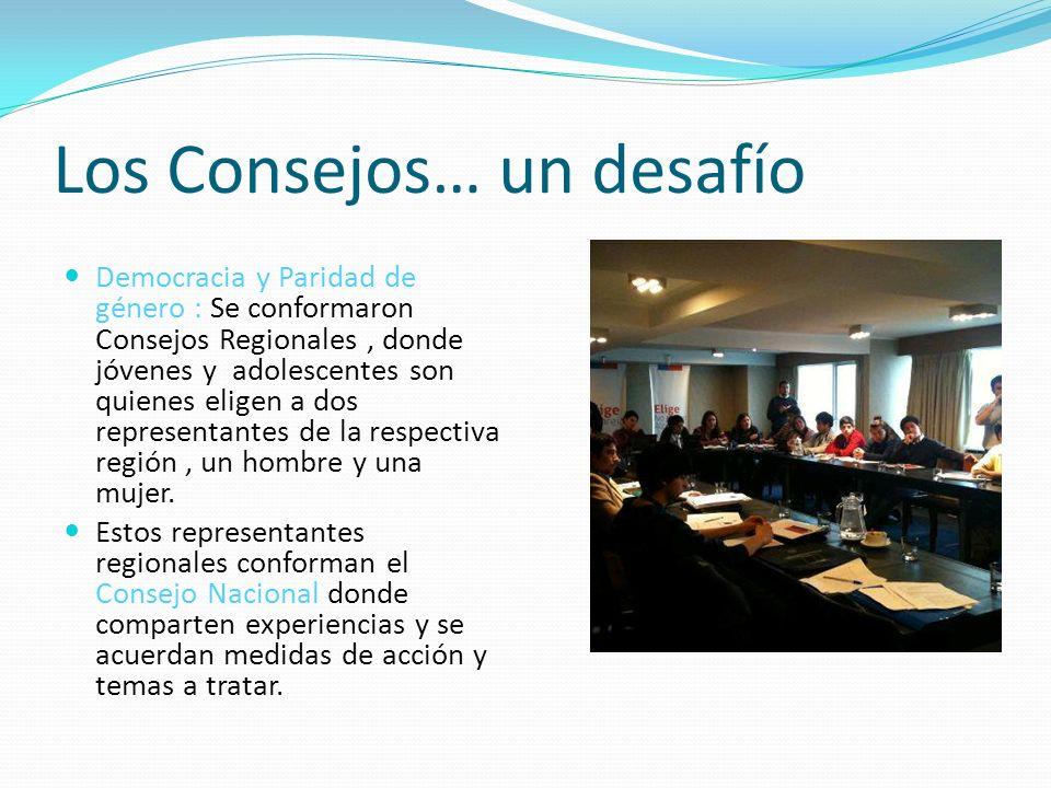 Los Consejos… un desafío Democracia y Paridad de género : Se conformaron Consejos Regionales, donde jóvenes y adolescentes son quienes eligen a dos representantes de la respectiva región, un hombre y una mujer.