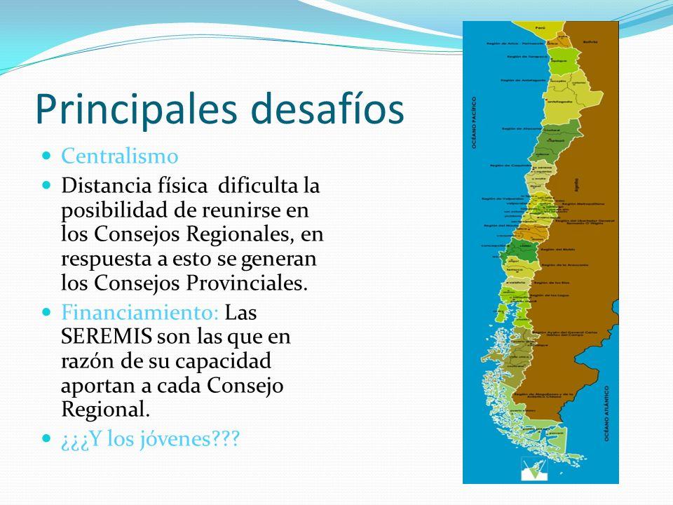 Principales desafíos Centralismo Distancia física dificulta la posibilidad de reunirse en los Consejos Regionales, en respuesta a esto se generan los Consejos Provinciales.