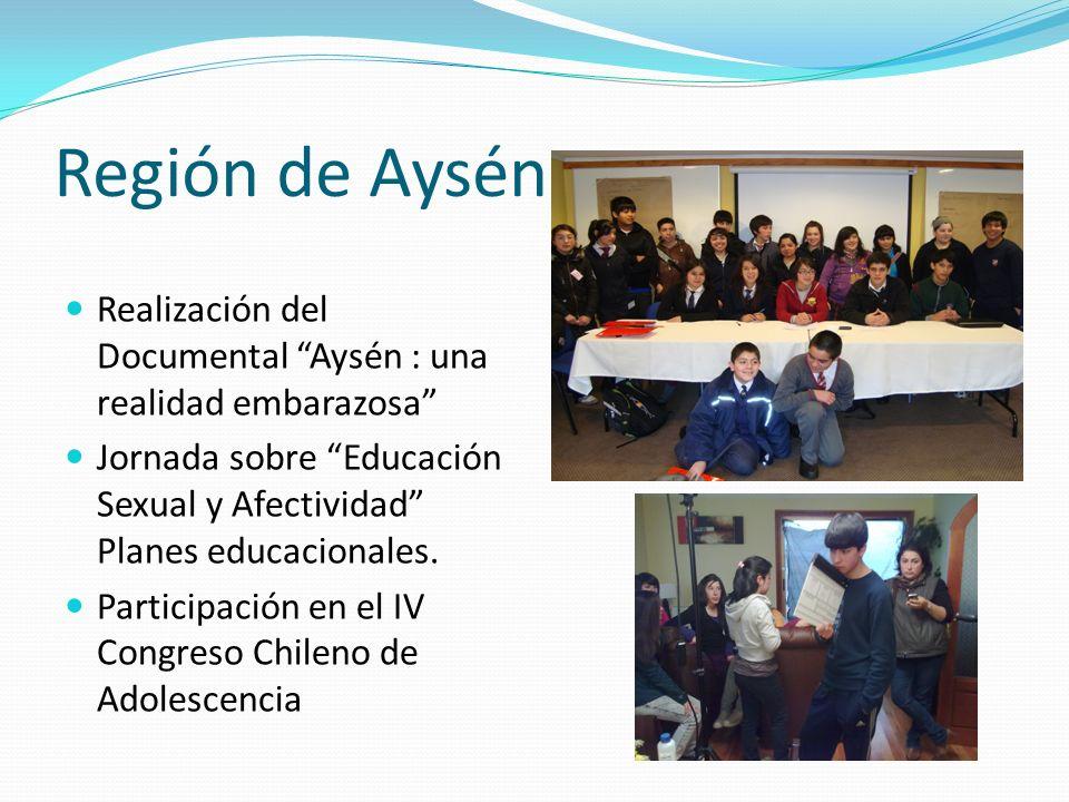 Región de Aysén Realización del Documental Aysén : una realidad embarazosa Jornada sobre Educación Sexual y Afectividad Planes educacionales.