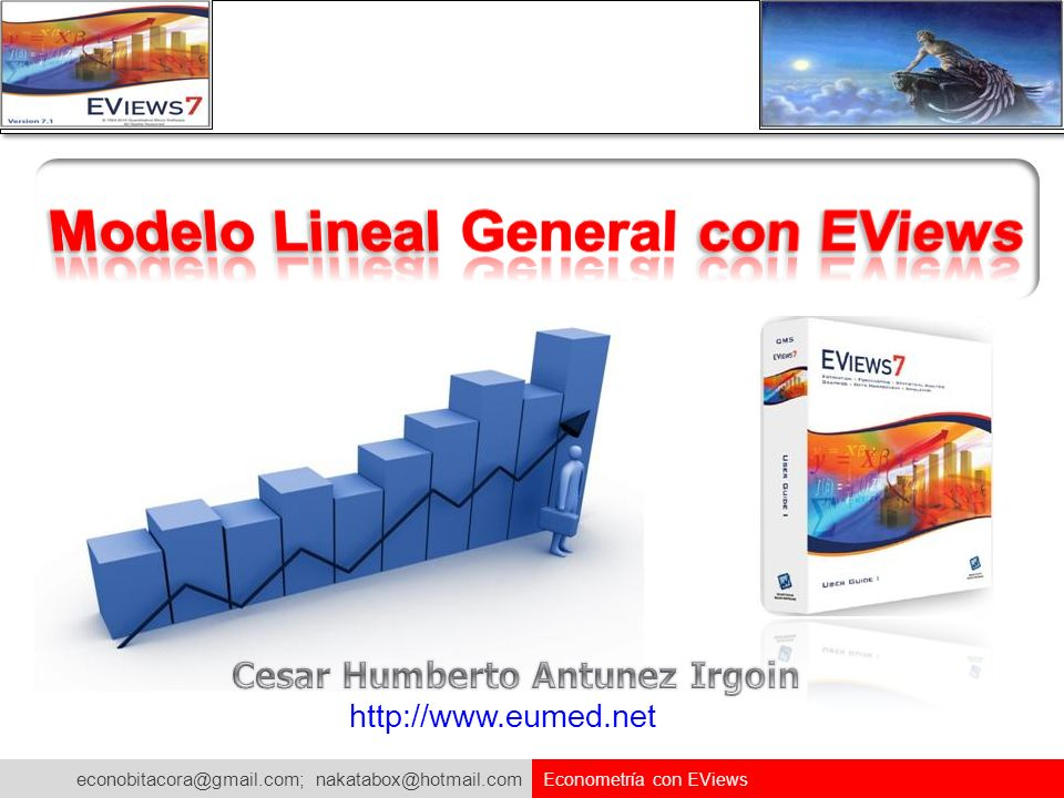 econobitacora@gmail.com; nakatabox@hotmail.com Econometría con EViews Comprobando los Resultados en Excel Vamos hallar la probabilidad de una t-Stundent en Excel Instrucción a seguir en Excel