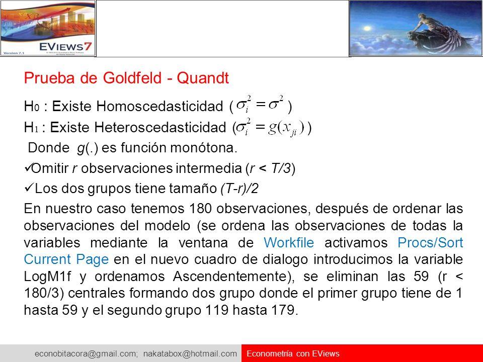 econobitacora@gmail.com; nakatabox@hotmail.com Econometría con EViews Prueba de Goldfeld - Quandt H 0 : Existe Homoscedasticidad ( ) H 1 : Existe Hete