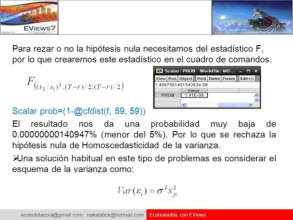 econobitacora@gmail.com; nakatabox@hotmail.com Econometría con EViews Para rezar o no la hipótesis nula necesitamos del estadístico F, por lo que crea