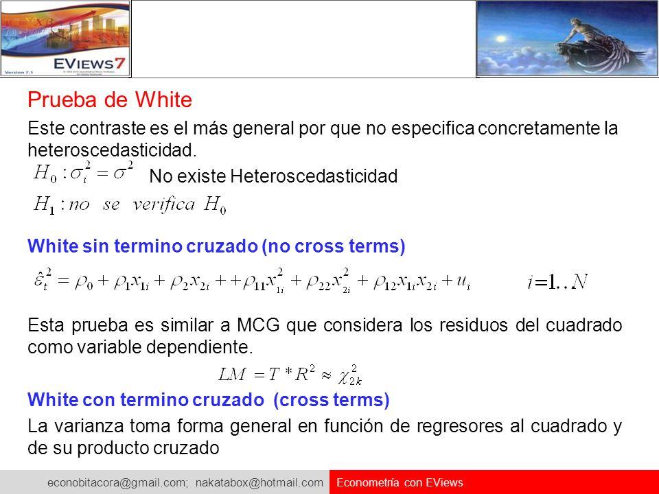 econobitacora@gmail.com; nakatabox@hotmail.com Econometría con EViews Prueba de White Este contraste es el más general por que no especifica concretam