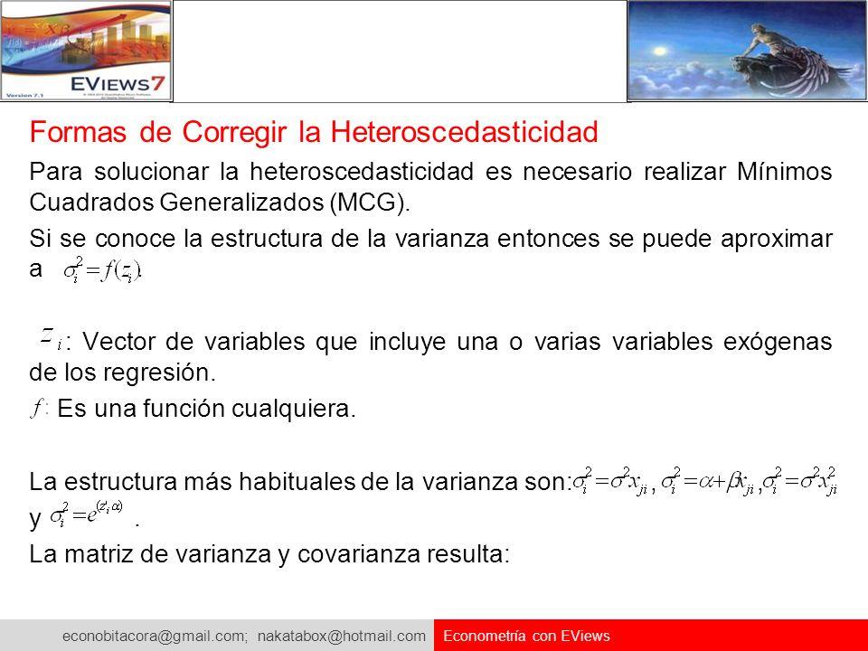 econobitacora@gmail.com; nakatabox@hotmail.com Econometría con EViews Formas de Corregir la Heteroscedasticidad Para solucionar la heteroscedasticidad