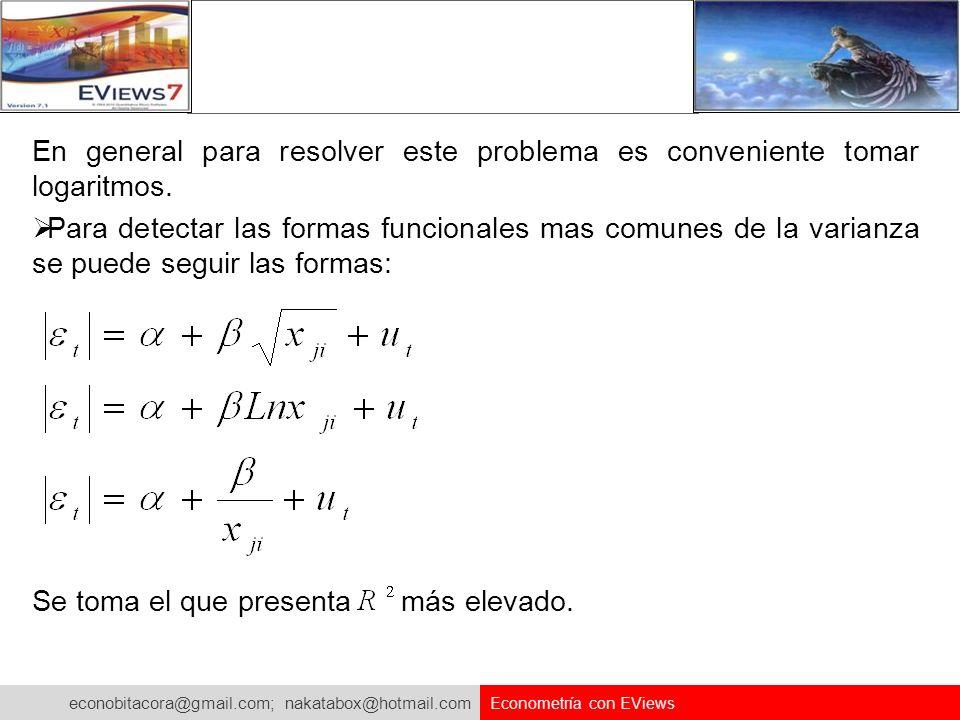 econobitacora@gmail.com; nakatabox@hotmail.com Econometría con EViews En general para resolver este problema es conveniente tomar logaritmos. Para det