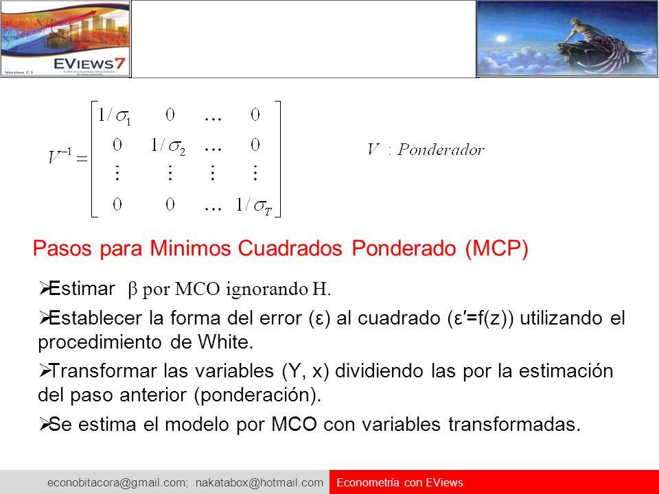 econobitacora@gmail.com; nakatabox@hotmail.com Econometría con EViews Pasos para Minimos Cuadrados Ponderado (MCP) Estimar β por MCO ignorando H. Esta
