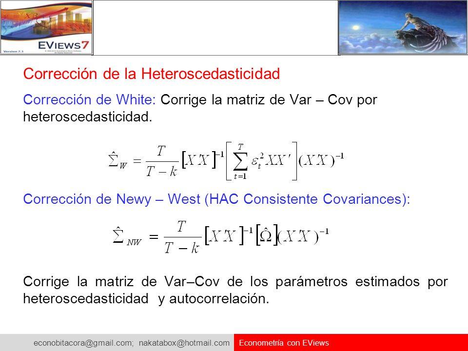 econobitacora@gmail.com; nakatabox@hotmail.com Econometría con EViews Corrección de la Heteroscedasticidad Corrección de White: Corrige la matriz de V