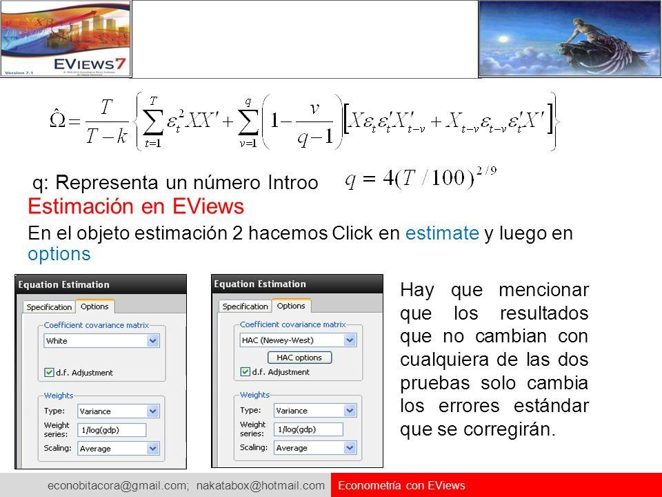 econobitacora@gmail.com; nakatabox@hotmail.com Econometría con EViews q: Representa un número Introo Estimación en EViews En el objeto estimación 2 ha