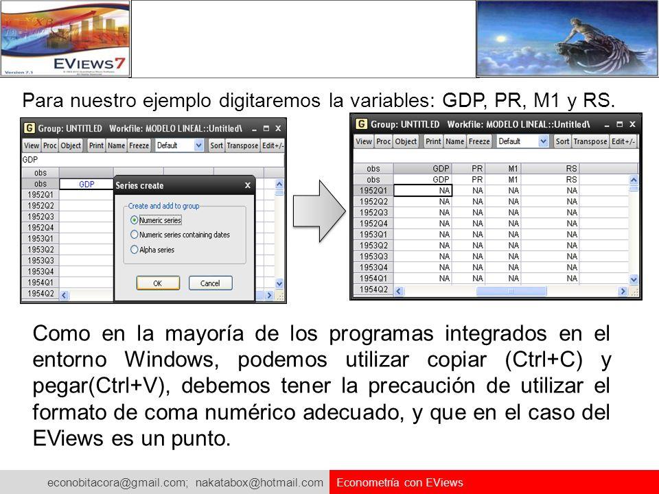 econobitacora@gmail.com; nakatabox@hotmail.com Econometría con EViews Para nuestro ejemplo digitaremos la variables: GDP, PR, M1 y RS. Como en la mayo