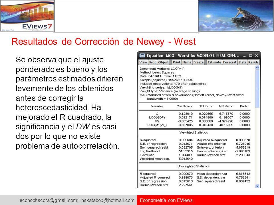 econobitacora@gmail.com; nakatabox@hotmail.com Econometría con EViews Resultados de Corrección de Newey - West Se observa que el ajuste ponderado es b