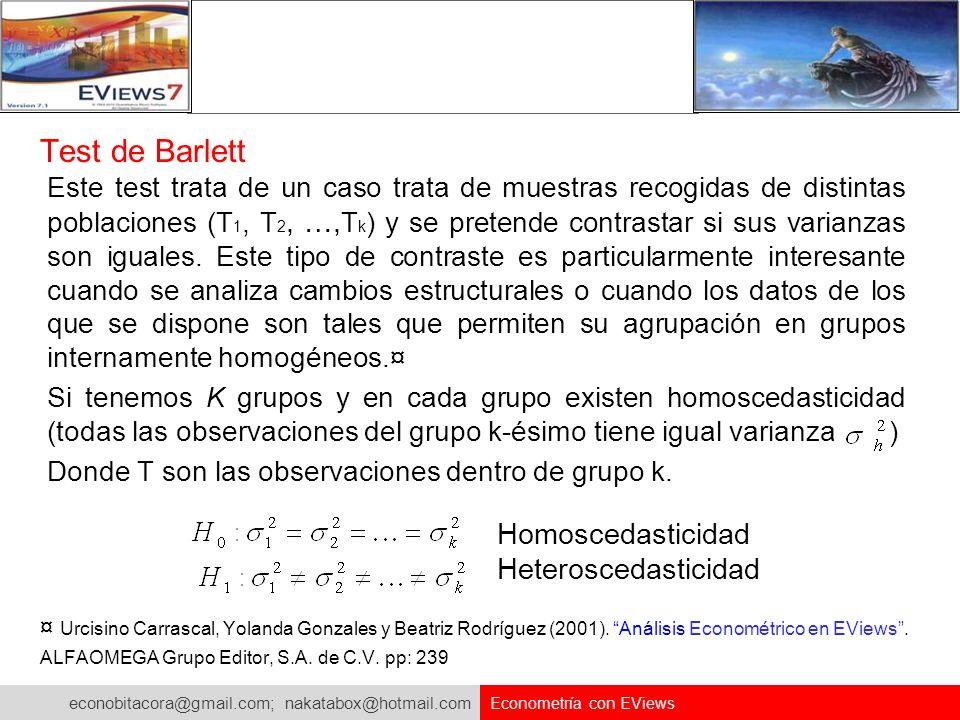 econobitacora@gmail.com; nakatabox@hotmail.com Econometría con EViews Test de Barlett Este test trata de un caso trata de muestras recogidas de distin