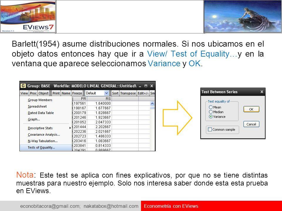 econobitacora@gmail.com; nakatabox@hotmail.com Econometría con EViews Barlett(1954) asume distribuciones normales. Si nos ubicamos en el objeto datos