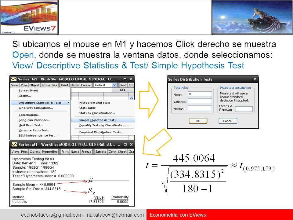 econobitacora@gmail.com; nakatabox@hotmail.com Econometría con EViews Si ubicamos el mouse en M1 y hacemos Click derecho se muestra Open, donde se mue