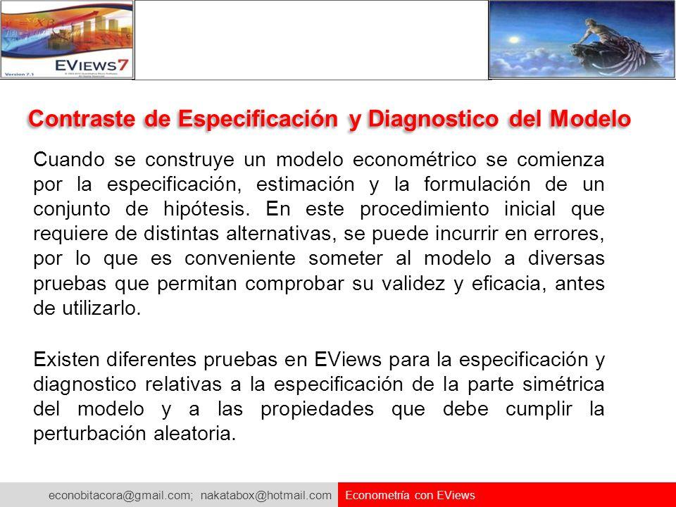 econobitacora@gmail.com; nakatabox@hotmail.com Econometría con EViews Contraste de Especificación y Diagnostico del Modelo Cuando se construye un mode