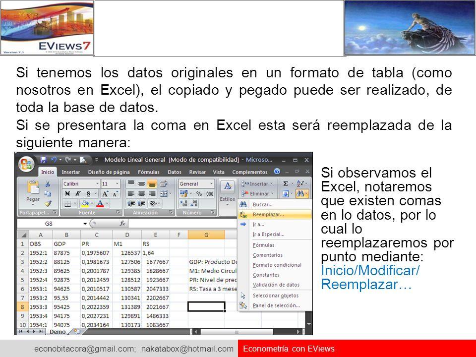 econobitacora@gmail.com; nakatabox@hotmail.com Econometría con EViews Si tenemos los datos originales en un formato de tabla (como nosotros en Excel),