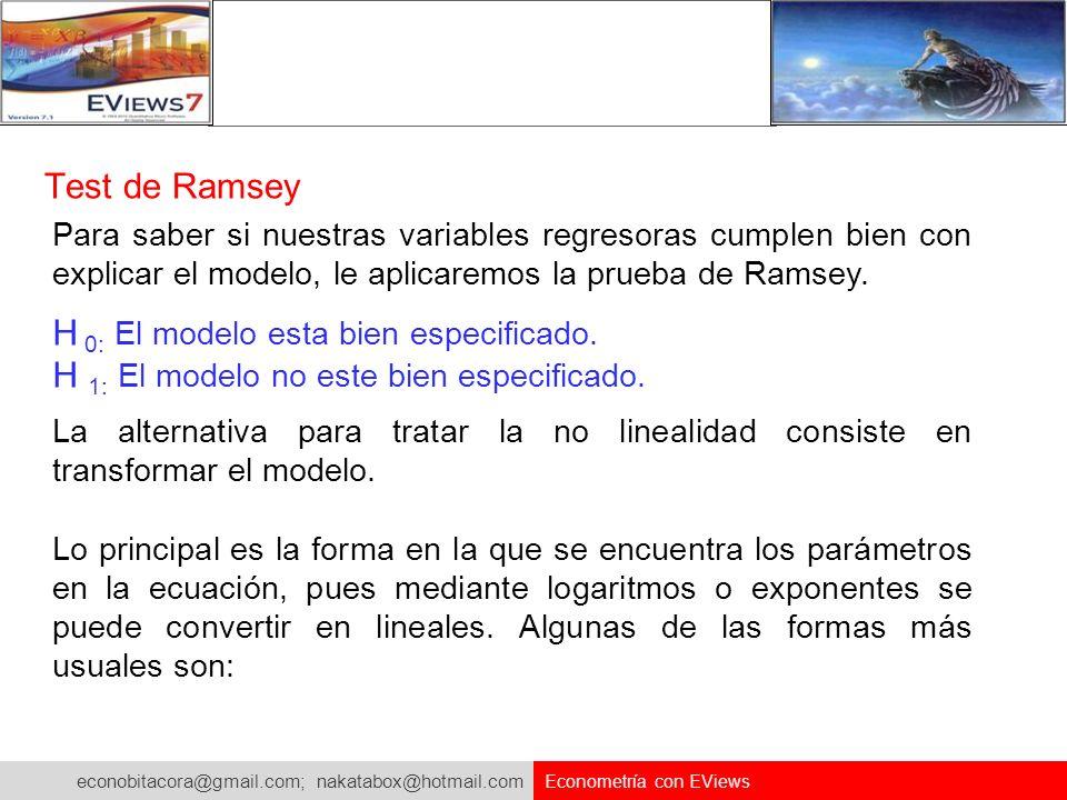 econobitacora@gmail.com; nakatabox@hotmail.com Econometría con EViews Test de Ramsey Para saber si nuestras variables regresoras cumplen bien con expl