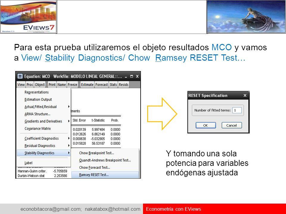 econobitacora@gmail.com; nakatabox@hotmail.com Econometría con EViews Para esta prueba utilizaremos el objeto resultados MCO y vamos a View/ Stability