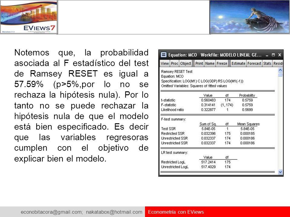 econobitacora@gmail.com; nakatabox@hotmail.com Econometría con EViews Notemos que, la probabilidad asociada al F estadístico del test de Ramsey RESET