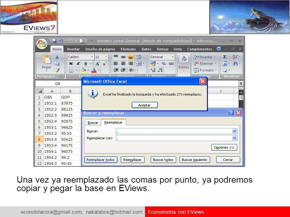 econobitacora@gmail.com; nakatabox@hotmail.com Econometría con EViews Una vez ya reemplazado las comas por punto, ya podremos copiar y pegar la base e