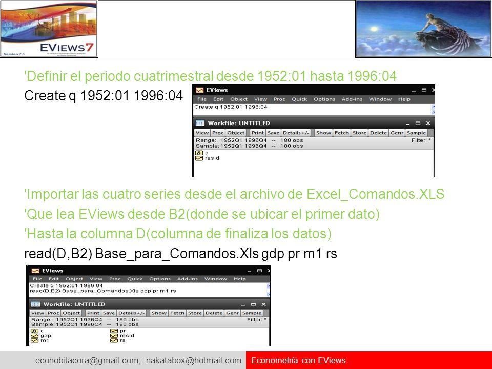 econobitacora@gmail.com; nakatabox@hotmail.com Econometría con EViews 'Definir el periodo cuatrimestral desde 1952:01 hasta 1996:04 Create q 1952:01 1