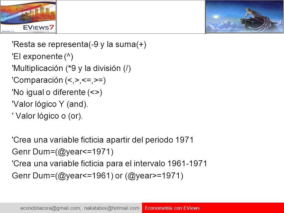 econobitacora@gmail.com; nakatabox@hotmail.com Econometría con EViews 'Resta se representa(-9 y la suma(+) 'El exponente (^) 'Multiplicación (*9 y la