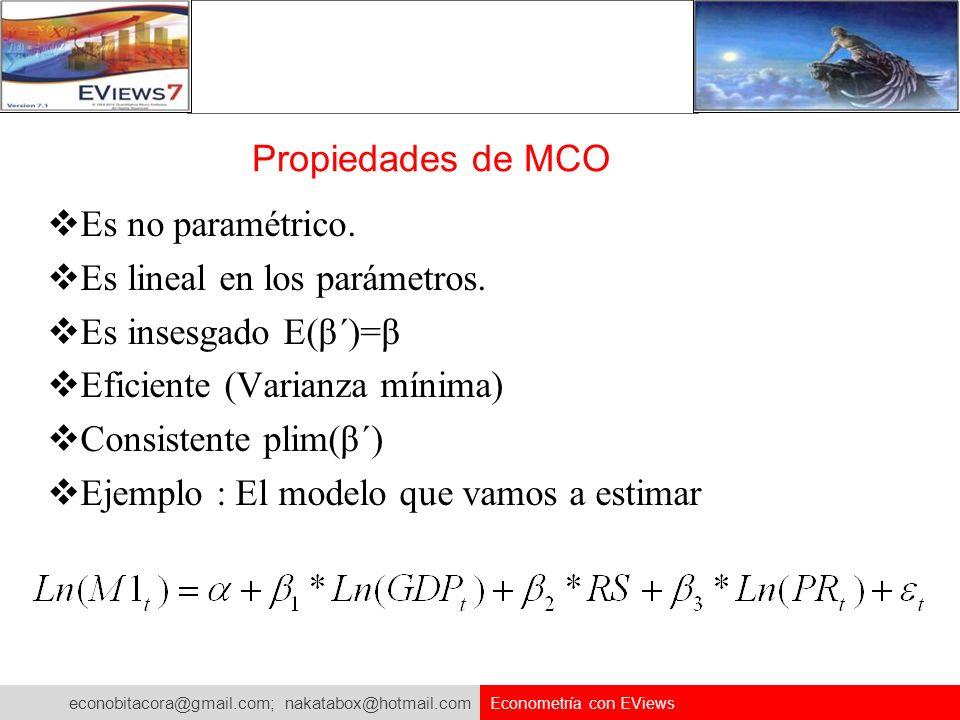 econobitacora@gmail.com; nakatabox@hotmail.com Econometría con EViews Propiedades de MCO Es no paramétrico. Es lineal en los parámetros. Es insesgado