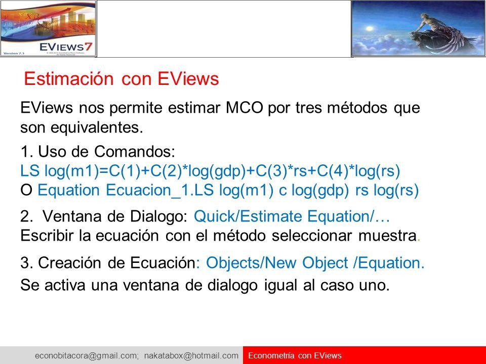 econobitacora@gmail.com; nakatabox@hotmail.com Econometría con EViews Estimación con EViews EViews nos permite estimar MCO por tres métodos que son eq