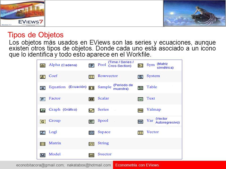 econobitacora@gmail.com; nakatabox@hotmail.com Econometría con EViews Tipos de Objetos Los objetos más usados en EViews son las series y ecuaciones, a