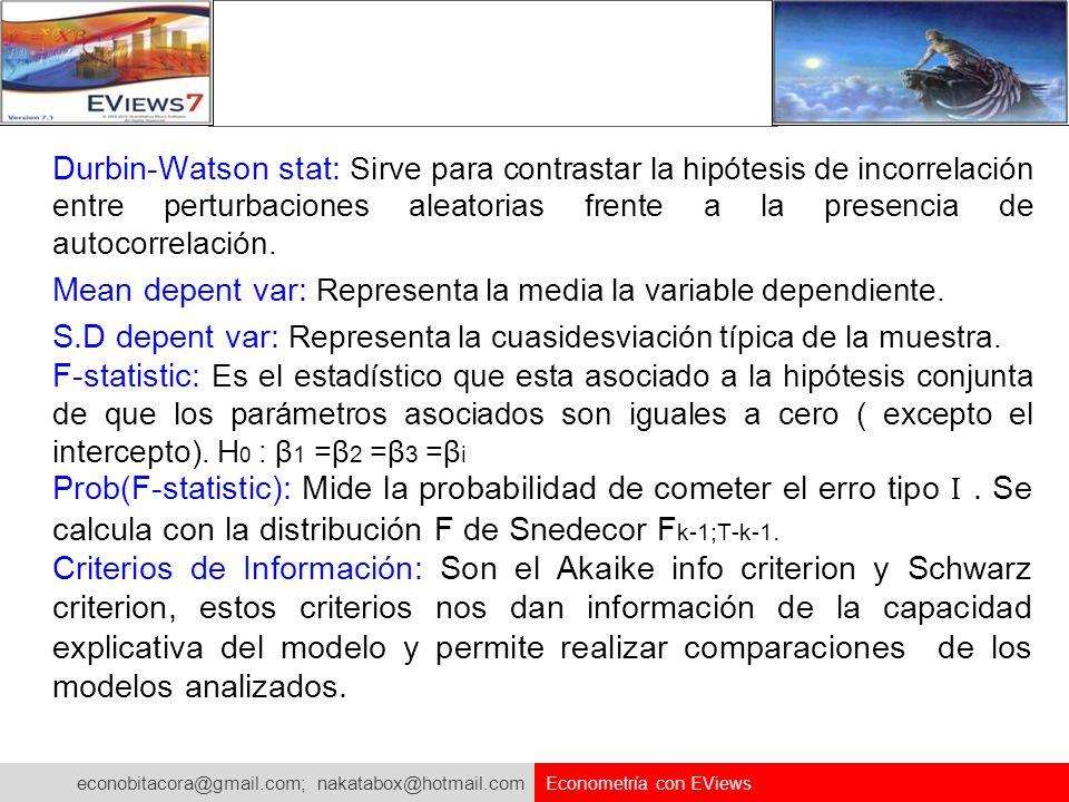 econobitacora@gmail.com; nakatabox@hotmail.com Econometría con EViews Durbin-Watson stat: Sirve para contrastar la hipótesis de incorrelación entre pe