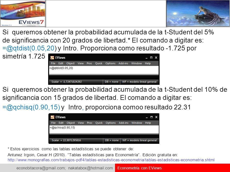 econobitacora@gmail.com; nakatabox@hotmail.com Econometría con EViews Si queremos obtener la probabilidad acumulada de la t-Student del 5% de signific