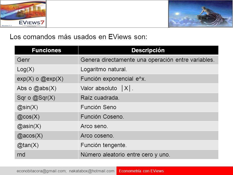 econobitacora@gmail.com; nakatabox@hotmail.com Econometría con EViews Los comandos más usados en EViews son: FuncionesDescripción GenrGenera directame