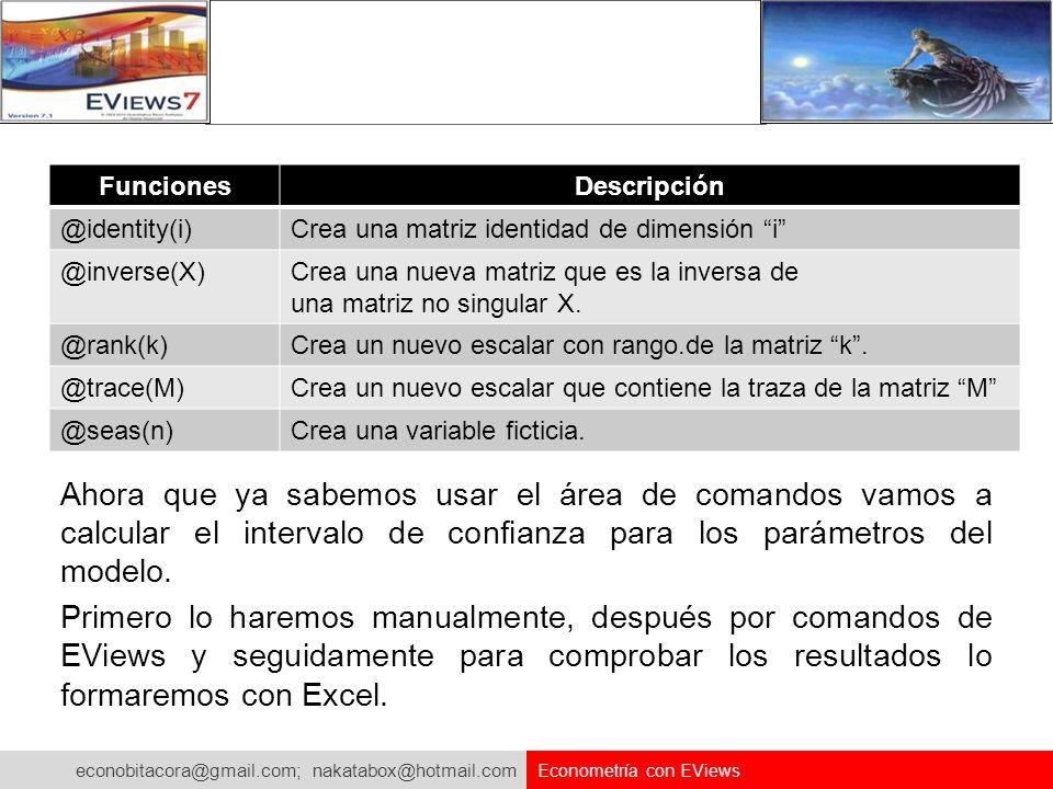 econobitacora@gmail.com; nakatabox@hotmail.com Econometría con EViews FuncionesDescripción @identity(i)Crea una matriz identidad de dimensión i @inver