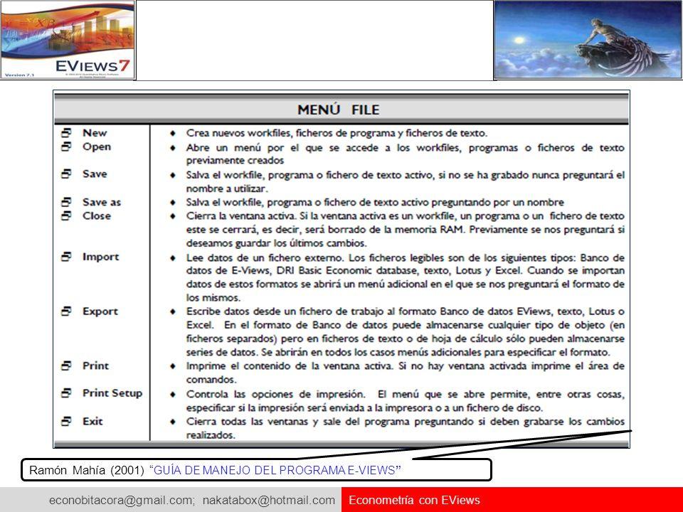 econobitacora@gmail.com; nakatabox@hotmail.com Econometría con EViews El Estimador de MCO: Minimiza la suma de cuadrados del residuo